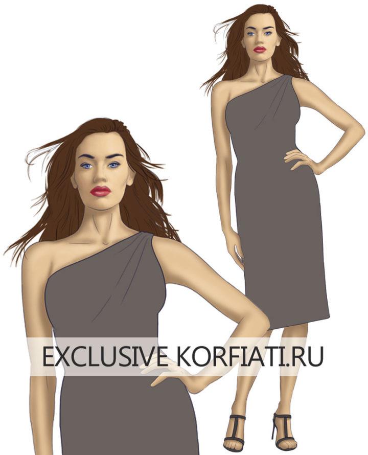 Платье на нестандартную фигуру для широких плеч