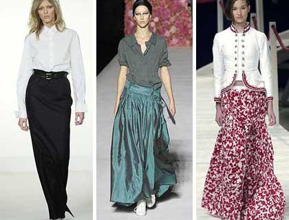 Длинные юбки модели