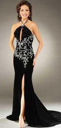 Черное нарядное платье в пол