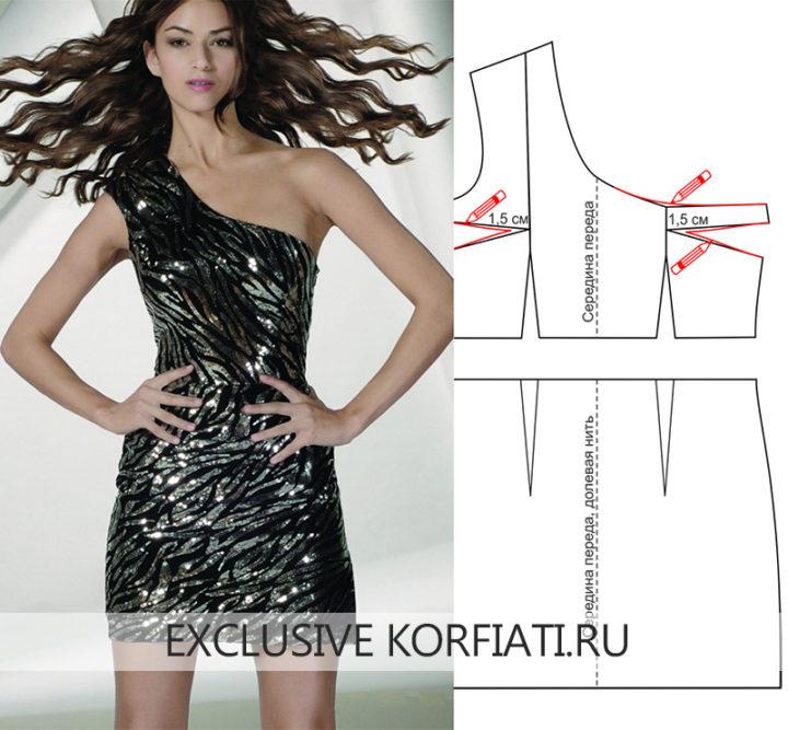 Выкройка платья на одно плечо - модель