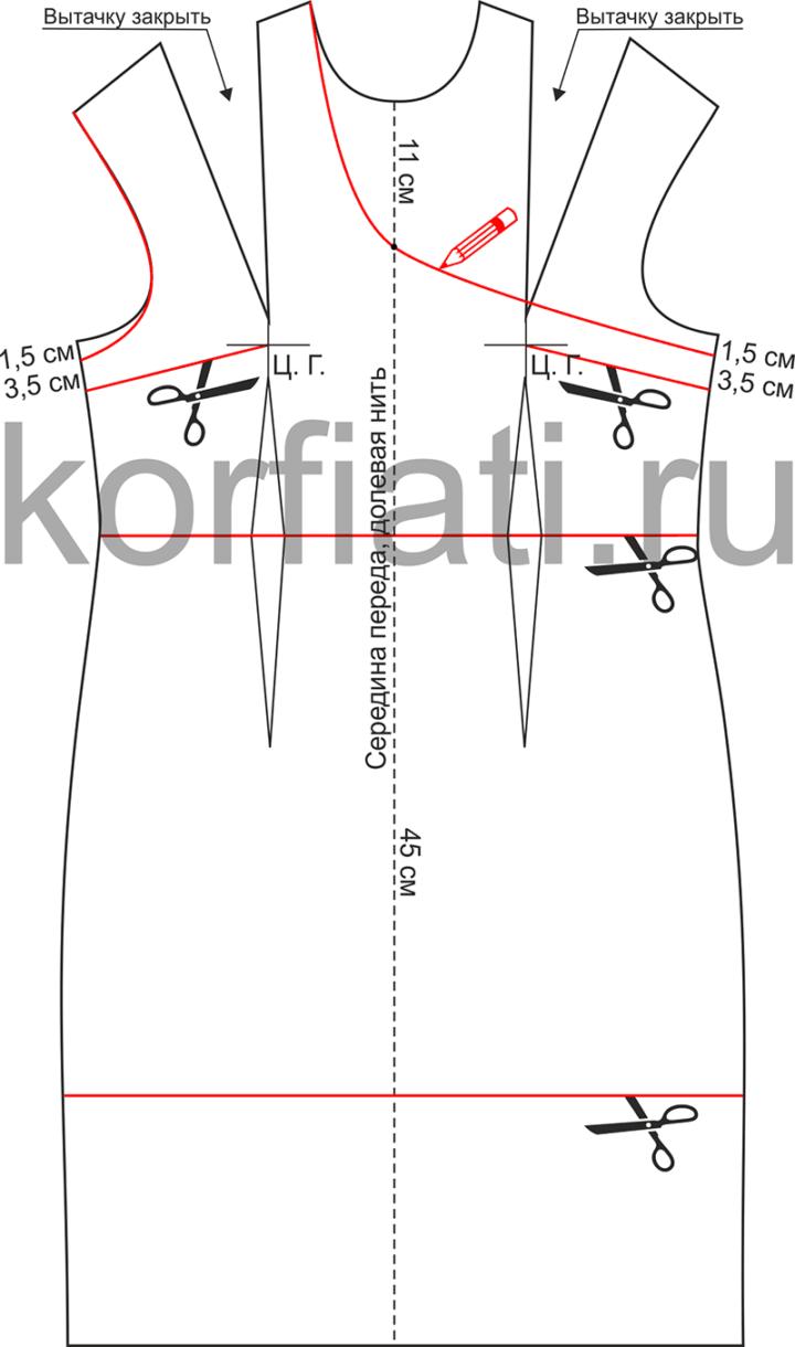 Как смоделировать выкройку платья на одно плечо