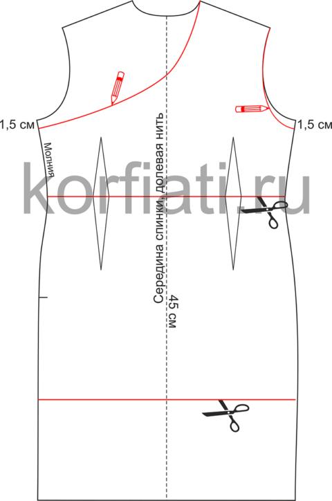Моделирование выкройки спинки платья на одно плечо