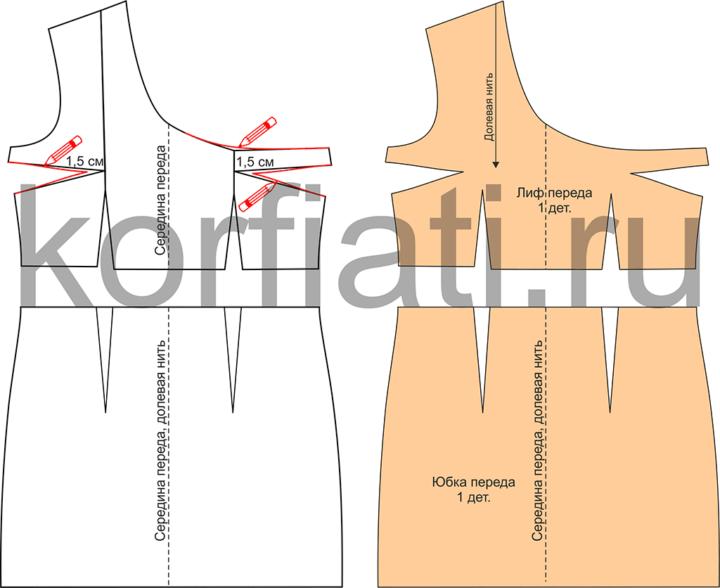 Выкройка платья на одно плечо - детали кроя