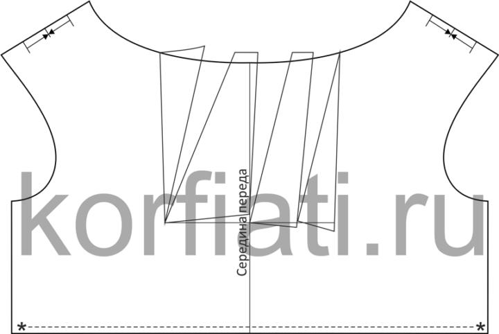 Моделирования лифа платья с вырезом лодочка со складками чертеж