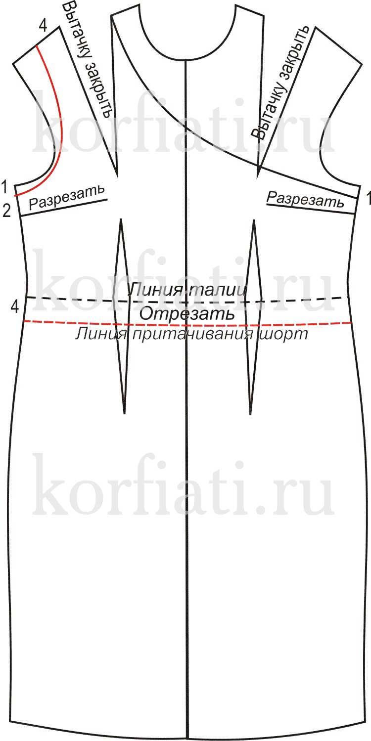 Моделирование лифа комбинезона на одно плечо