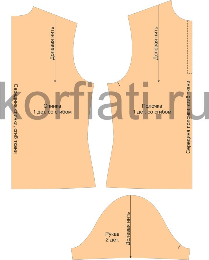 Детали кроя футболки поло