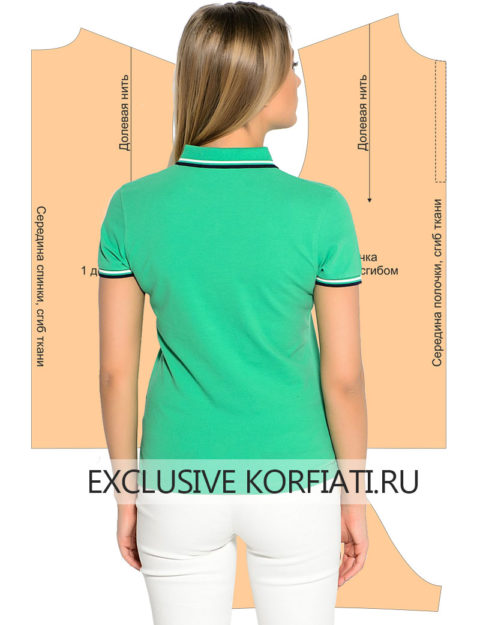 Выкройка женской футболки поло - вид сзади