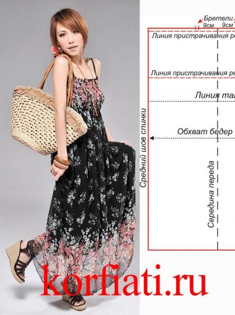 Выкройка платья в пол - простое построение