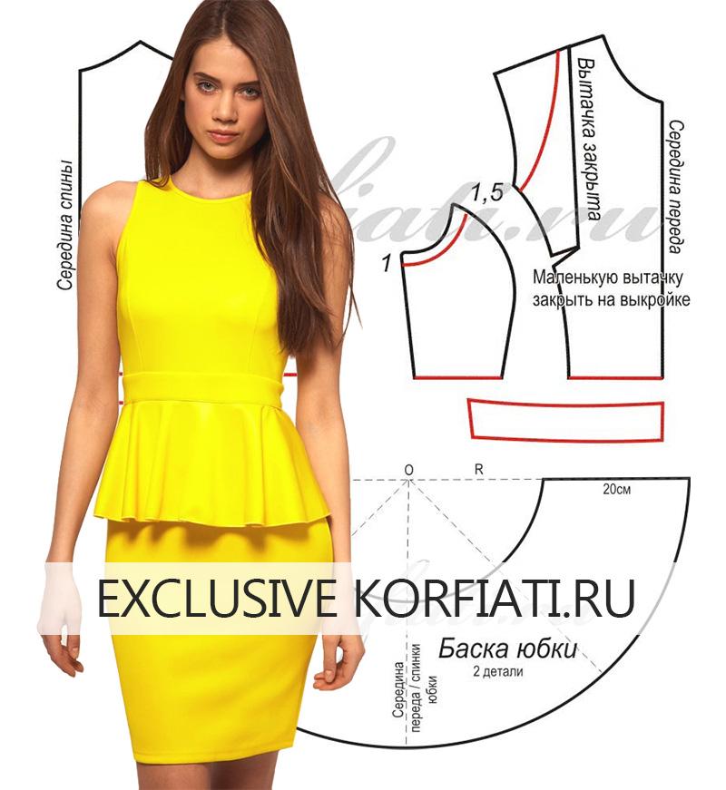 8bb9e299705 Моделируем выкройку и шьем яркое платье с баской ...