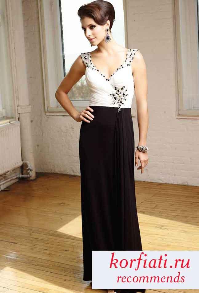 Черно белое вечернее платье в пол