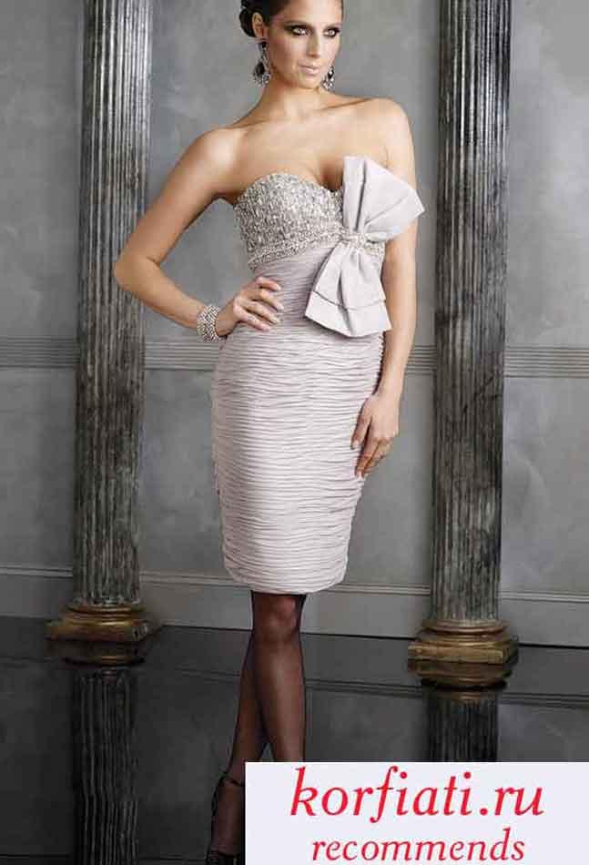 Платье вечернее короткое с бантом