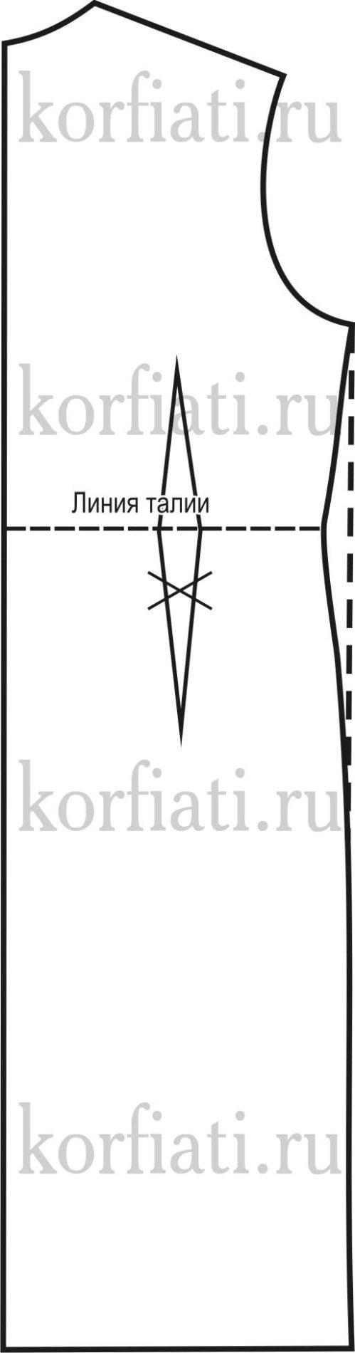 Выкройка прямое пальто - спинка