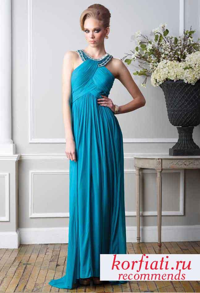 Темно голубое вечернее платье в пол