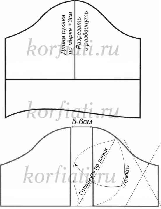 Выкройка платья рукав фонарик чертеж 3