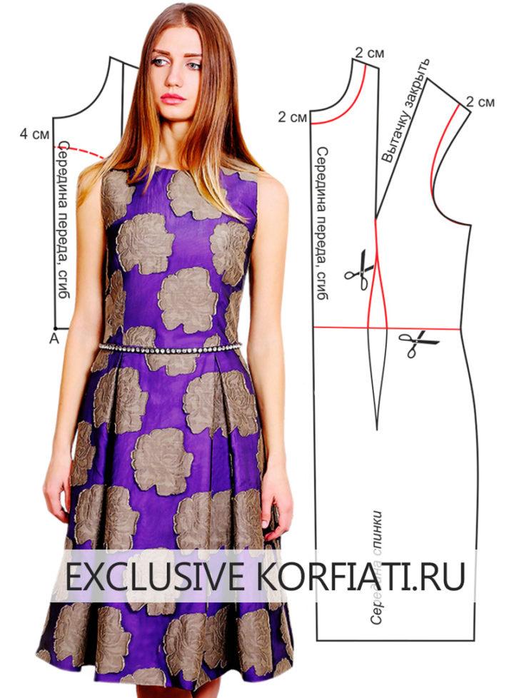 Выкройка платья с юбкой в складку