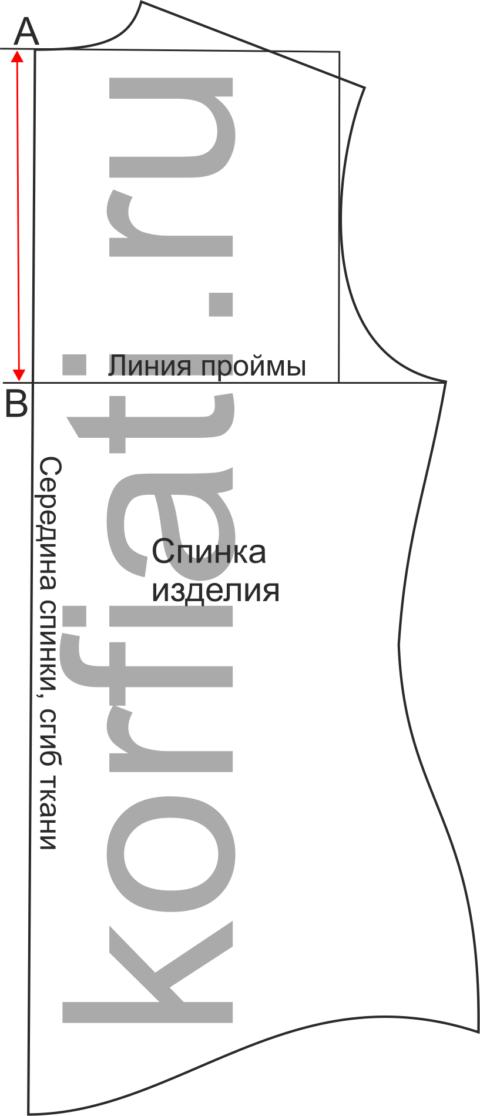 Построение выкройки беспосадочного рукава к лифу без вытачек