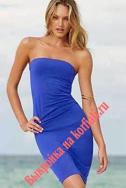 Выкройка синего трикотажного платья для начинающих