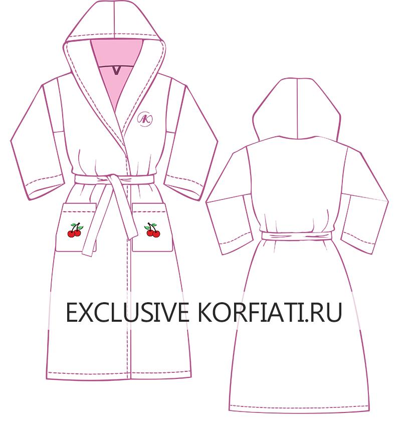 Эскиз халата с цельнокроеным капюшоном