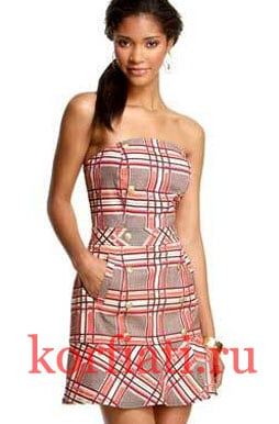 Клетчатое платье корсет