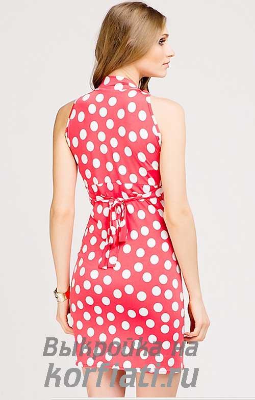 Красное платье в горох для лета своими руками