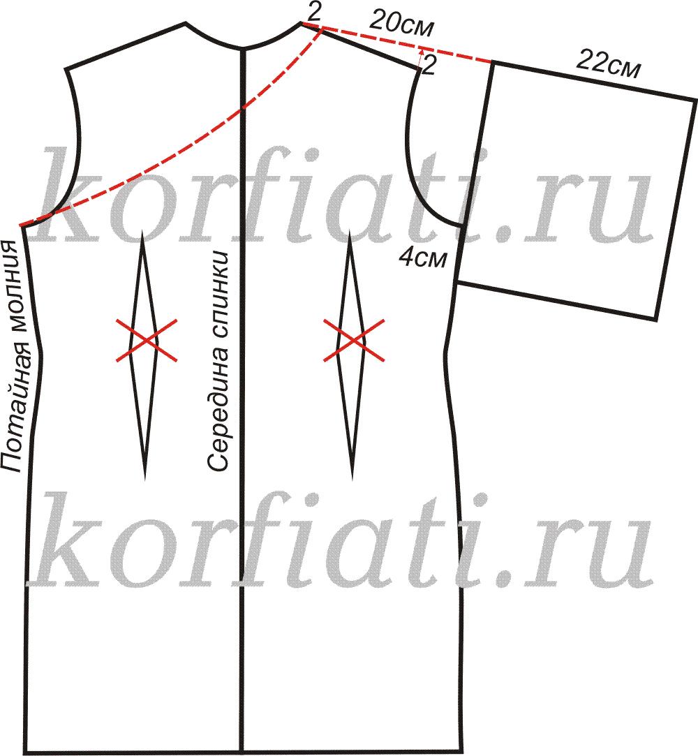 Выкройка платье кимоно - спинка