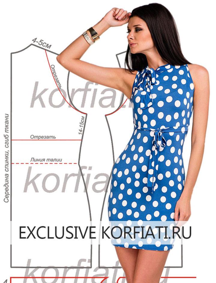 Синее платье в горох для лета своими руками