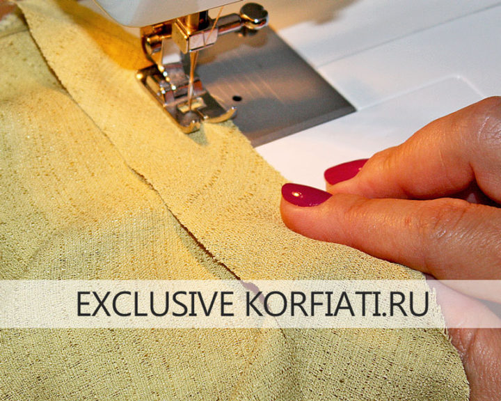 Косая обтачка - обработка горловины платья
