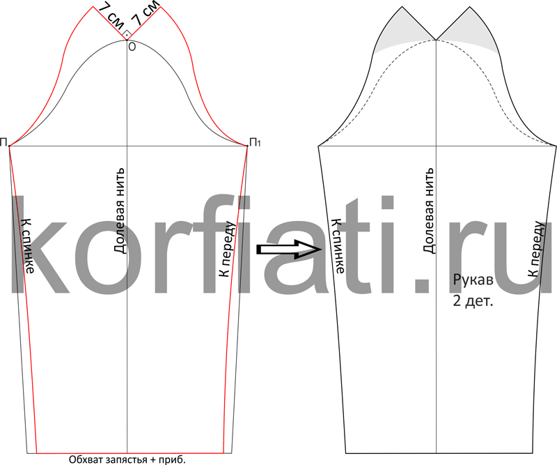 Моделирование выкройки рукава-пагода к пальто
