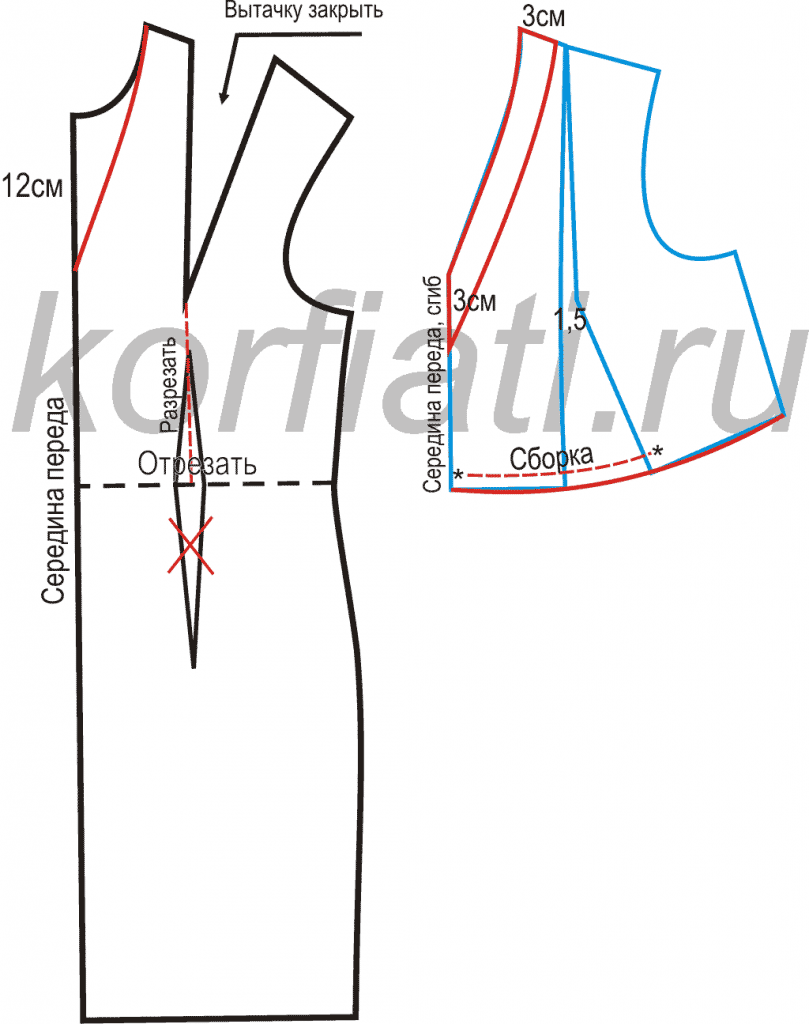 Длинное платье на Новый год - моделирование лифа переда