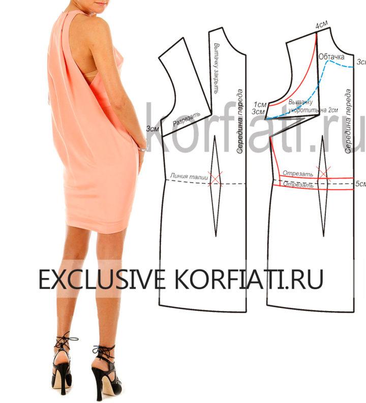 Выкройка модного платья - фото