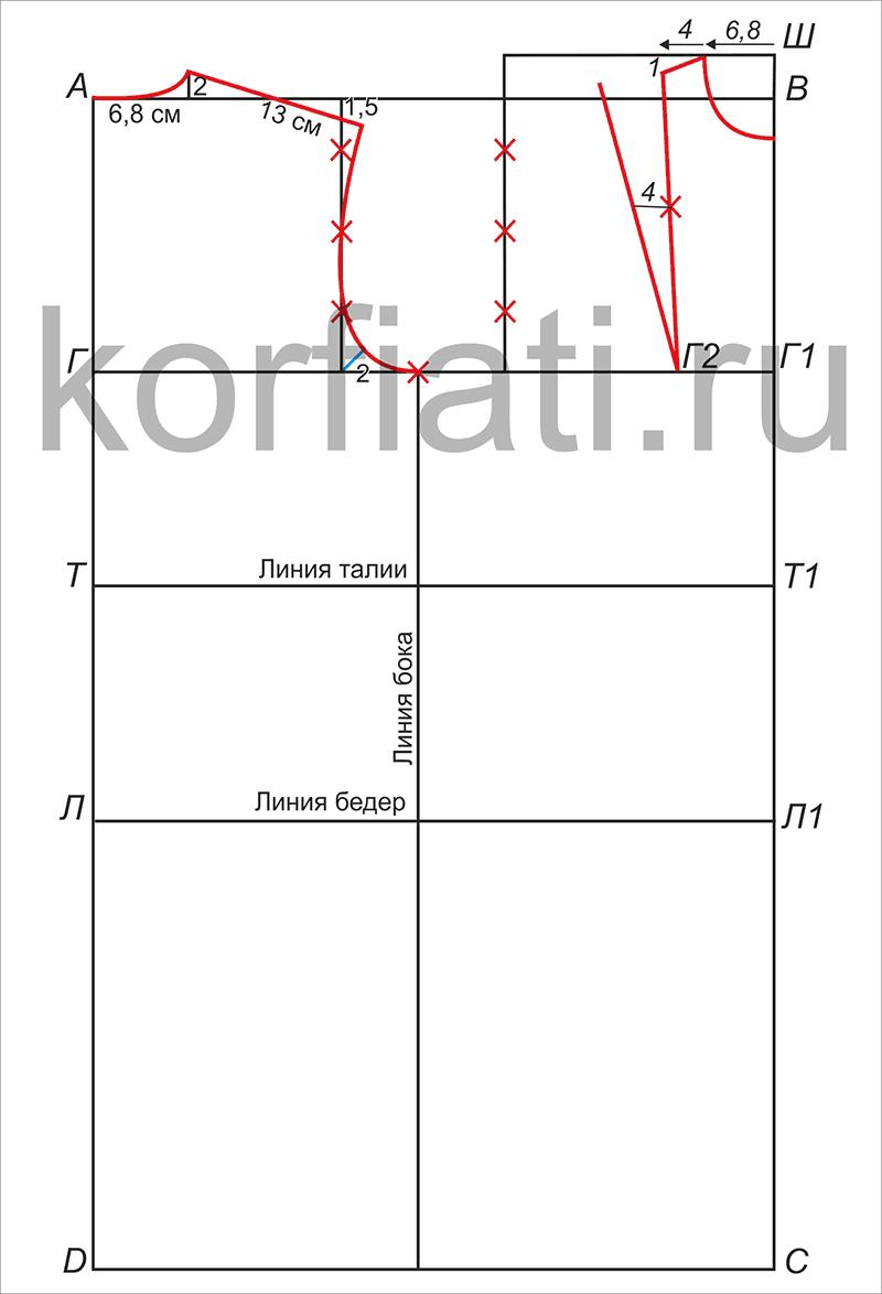 f18d0426f2f914e Пошаговое построение выкройки платья от А. Корфиати