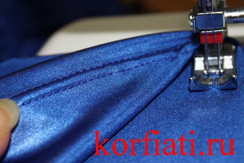 Обработка низа в трикотажном платье