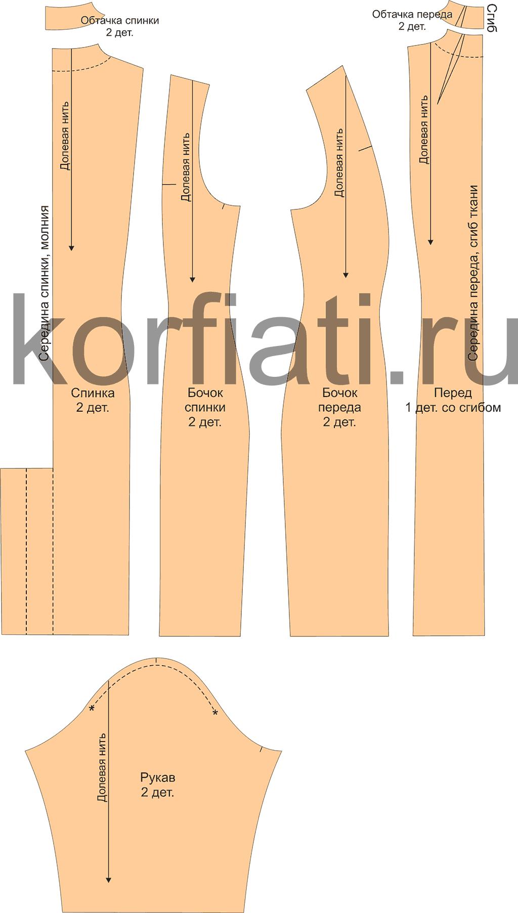 Детали кроя платья и рукава
