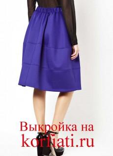 Выкройка пышной юбки - спинка