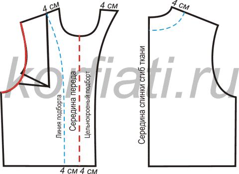 Выкройка мини-юбки и жакета - детали кроя
