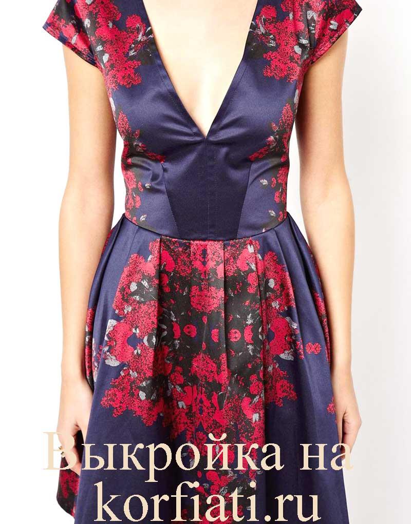 V образный вырез на платье как сшить