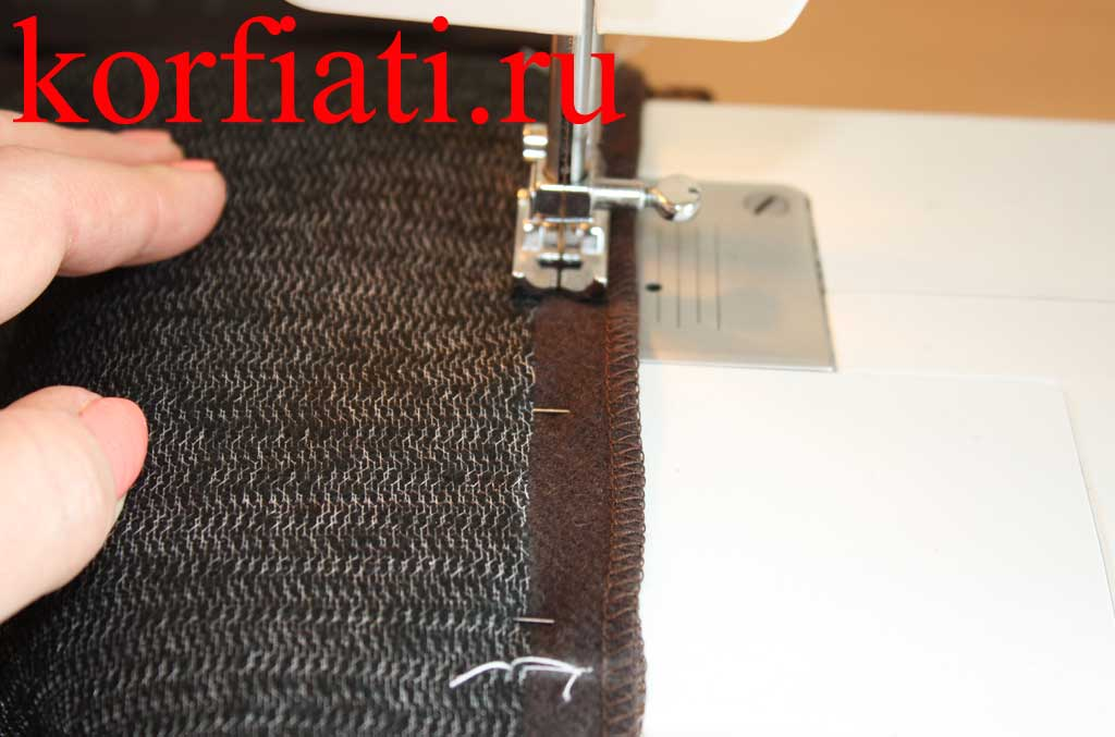 Пристрачивание мешковин кармана