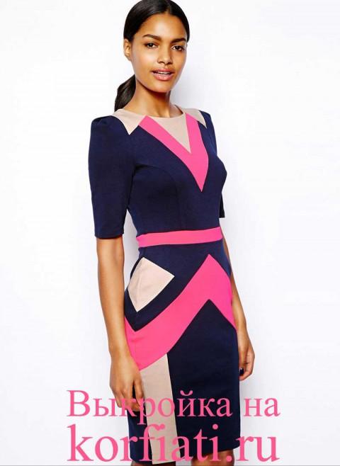 Выкройка прямого платья с коротким рукавом