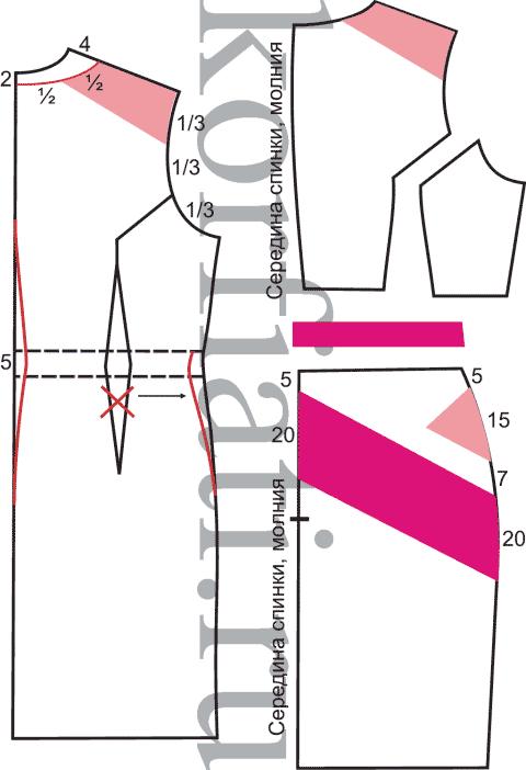 Выкройка прямого платья с коротким рукавом спинка