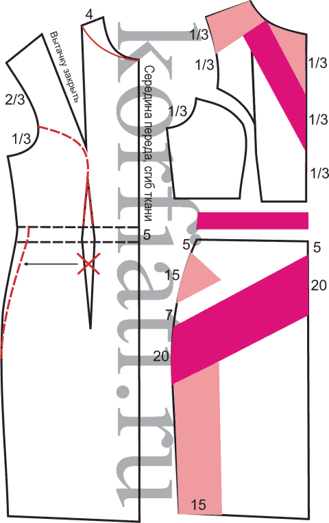 Выкройка прямого платья с коротким рукавом перед