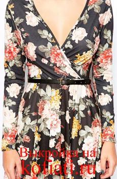 Выкройка платья с запахом - вид спереди