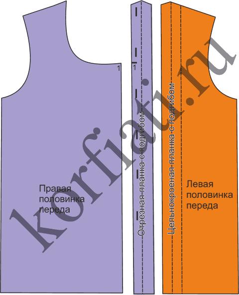 Выкройка блузки с воротником стойка – детали переда