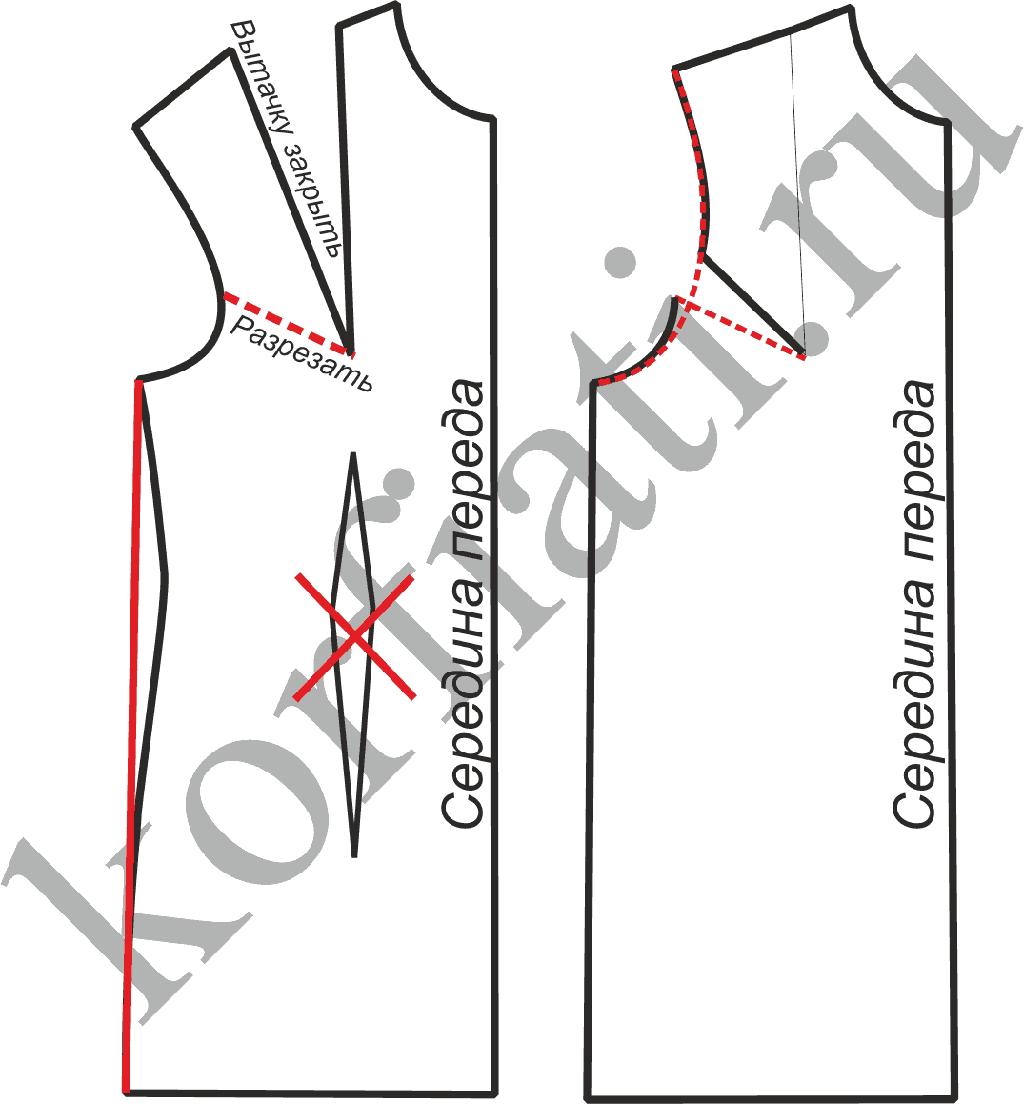 Выкройка блузки с воротником стойка - моделирование переда