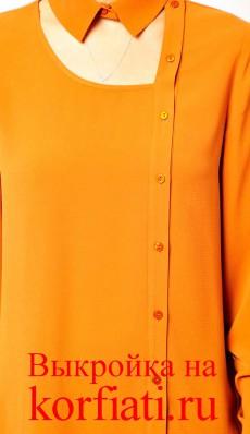Выкройка блузки с воротником стойка - перед