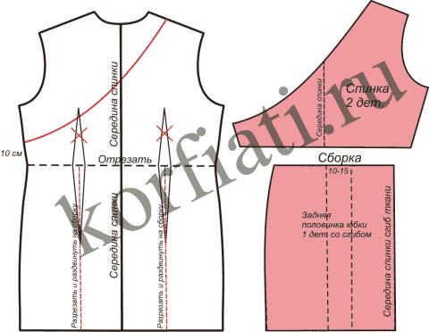 Выкройка платья для беременных - моделирование спинки