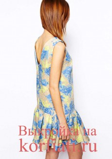 Выкройка прямого платья без рукавов – спинка