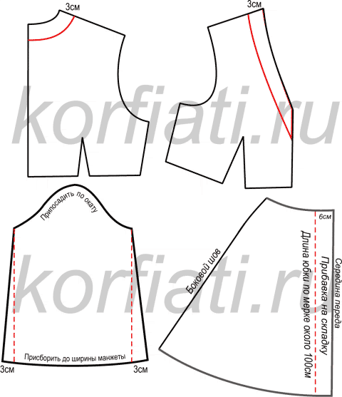 Платье в стиле бохо - моделирование рукава и юбки