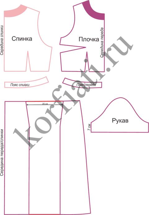 Выкройка летнего костюма - детали лифа, юбки и рукав
