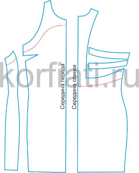 Приталенное платье - выкройка переда и спинки