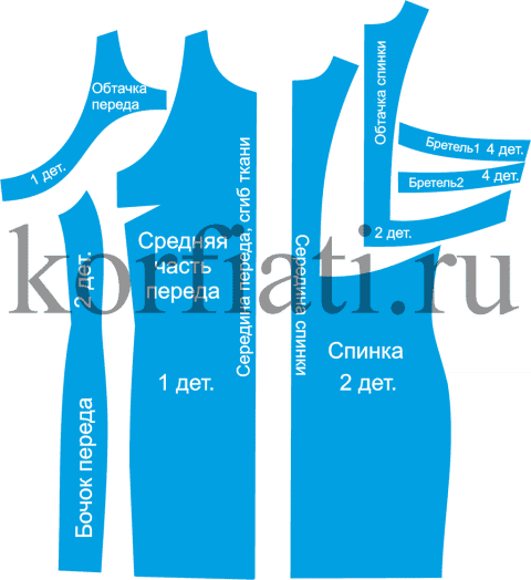 Приталенное платье - детали кроя